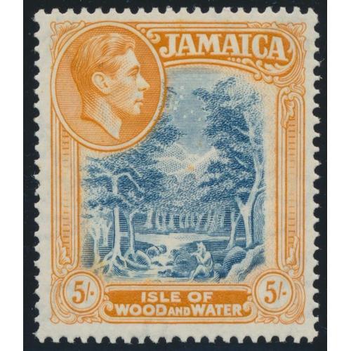 JAMAICA 1941 KGVI 5/- SLATE-BLUE & YELLOW-ORANGE