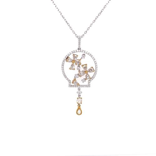 12 - FLOWER DETAIL DIAMOND DROP PENDANT
