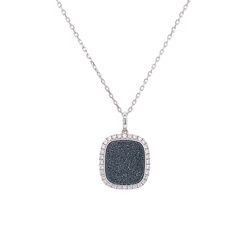 13 - CUSHION BLACK AVENTURESCENSE & DIAMOND HALO PENDANT