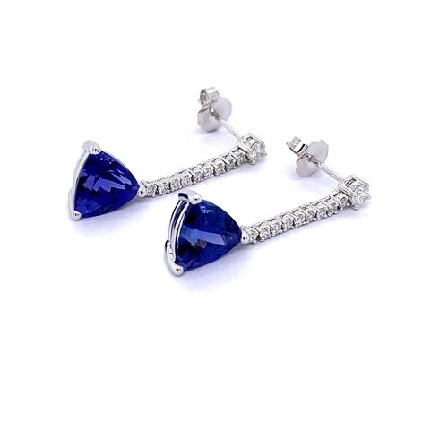 5 - PAIR OF TRILLIANT TANZANITE & DIAMOND DROP EARRINGS