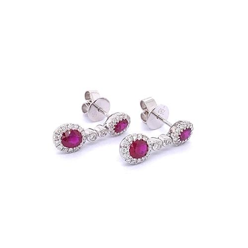 59 - PAIR OF RUBY & DIAMOND DRESS DROP EARRINGS
