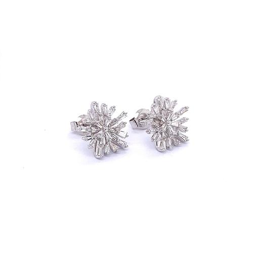 60 - PAIR OF DIAMOND SNOWFLAKE EARRINGS