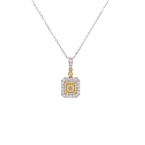 6 - CAPE YELLOW DIAMOND DOUBLE HALO PENDANT