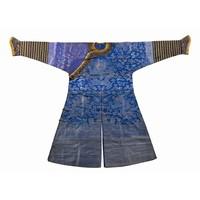 A CHINESE BLUE GROUND SILK BROCADE NINE DRAGON COURT ROBE, 'JIFU', QING DYNASTY, LATE 19TH CENTURY