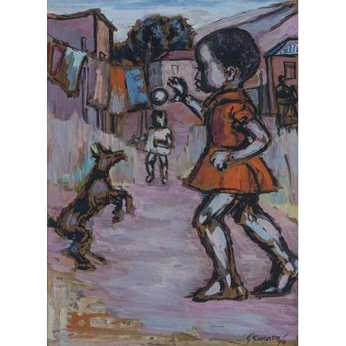 Gerard Sekoto (South African 1913 - 1993) YOUNG GIRL WITH HER DOG