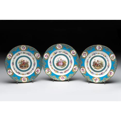 939 - A COLLECTION OF TWENTY-FOUR SEVRES CABINET PLATES, 19TH CENTURY