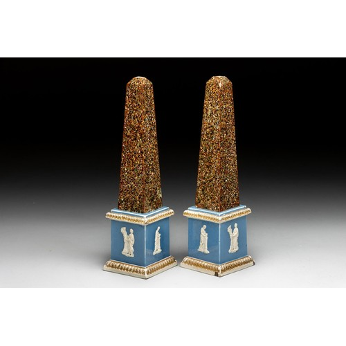 940 - A PAIR OF NEOCLASSICAL PEARLWARE OBELISKS, POSSIBLY RALPH WOOD, LATE 18TH/EARLY 19TH CENTURY