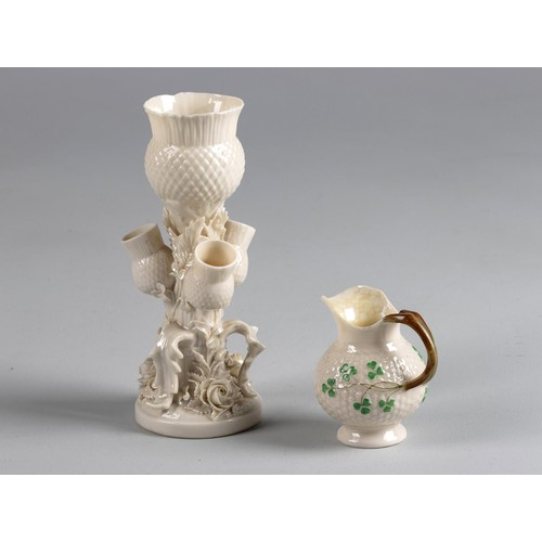 941 - A BELLEEK PORCELAIN THISTLE VASE, LATE 19TH/EARLY 20TH CENTURY