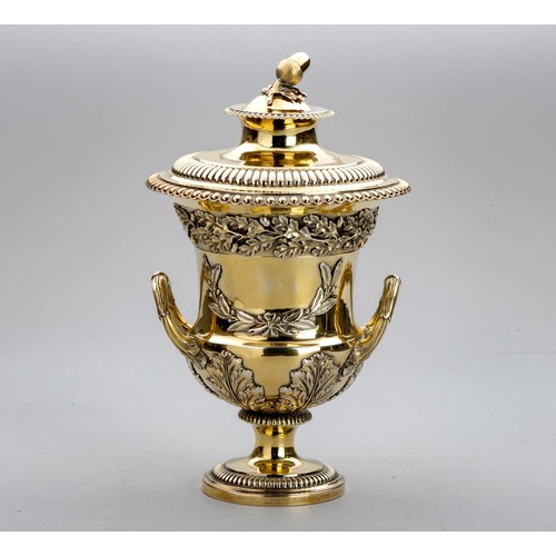 1073 - A GEORGE III SILVER GILT CUP AND COVER, MAKER'S MARK WB, LONDON, 1812