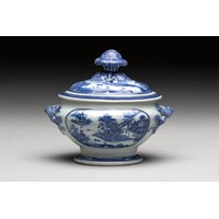 A CHINESE BLUE AND WHITE 'VILLAGE HAMLET' TUREEN AND COVER, QING DYNASTY, 18TH CENTURY