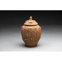 A CHINESE POTTERY 'LOTUS' JAR AND COVER, SONG DYNASTY, 960 - 1279