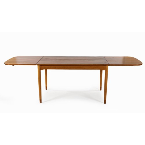 299 - A TEAK AND BEECH DINING TABLE, DESIGNED BY HANS WEGNER, MANUFACTURED BY ANDREAS TUCK, CIRCA 1958