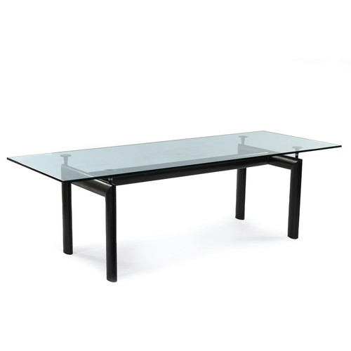 296 - A GLASS AND STEEL LC6 TABLE, DESIGNED IN 1928 BY LE CORBUSIER, PIERRE JEANNERET AND CHARLOTTE PERIAN...