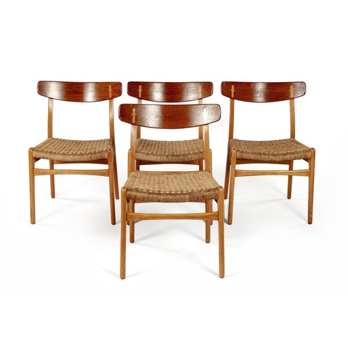 297 - A SET OF FOUR TEAK AND BEECH CH-23 DINING CHAIRS, DESIGNED BY HANS WEGNER IN 1950, MANUFACTURED BY A...