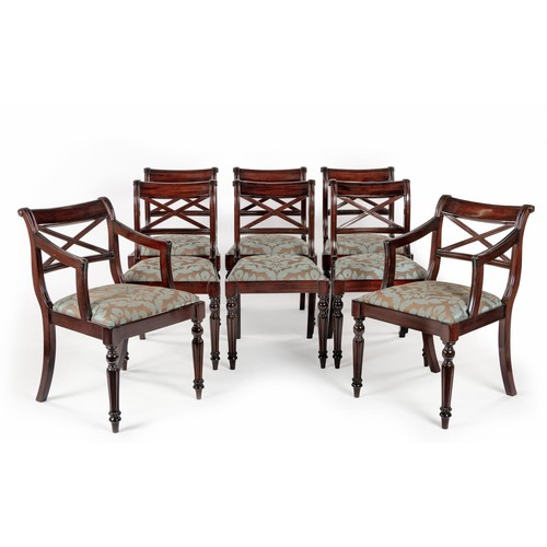 56 - A SET OF EIGHT MAHOGANY WILLIAM IV STYLE DINING CHAIRS