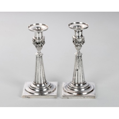 1223 - A RARE PAIR OF CAPE SILVER CANDLESTICKS, WILLEM GODFRIED LOTTER, CIRCA 1800