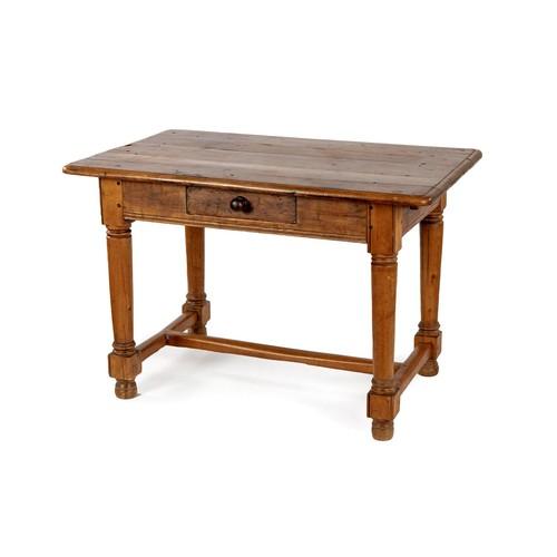 76 - A CAPE YELLOWWOOD PEG TOP TABLE, 19TH CENTURY