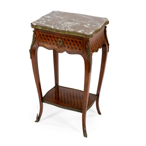 95 - A FRENCH WALNUT AND GILT-METAL MOUNTED SIDE TABLE