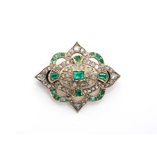572 - AN EMERALD AND DIAMOND BROOCH