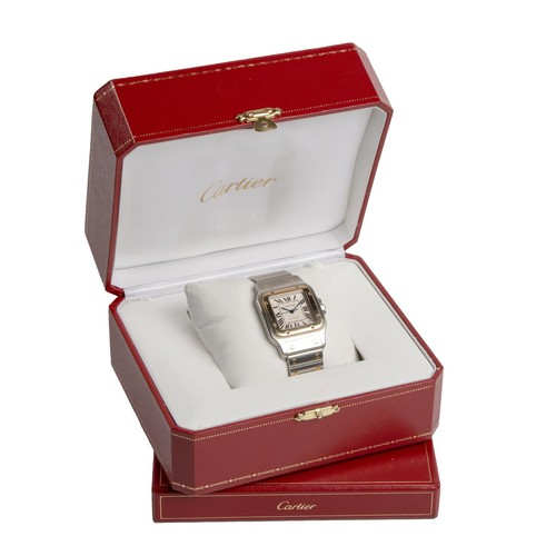 724 - A STAINLESS STEEL AND GOLD WRISTWATCH, CARTIER SANTOS GALBÉE