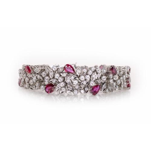 597 - A RUBY AND DIAMOND BRACELET