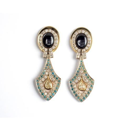 602 - A PAIR OF DIAMOND AND GEM-SET PENDANT EARRINGS