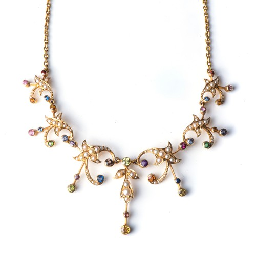 674 - A PEARL AND GEM-SET NECKLACE, CIRCA 1900