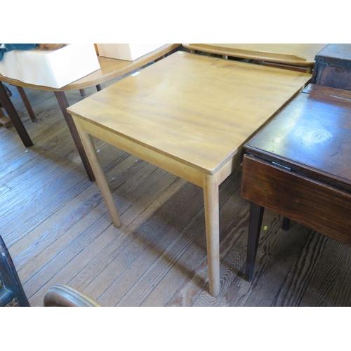32 - An Ercol light elm and beech tea trolley, and an Ercol light elm and beech square side table, 69 cm ...