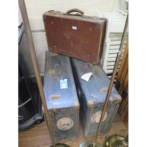 42 - A pair of 'Vacationer' suitcases, with Cunard Line 'Stateroom' Baggage labels, 74 x 52 x 24 cm, and ...