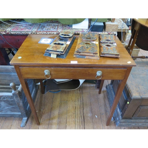 63 - An early 19th century style side table, the rectangular top with reeded edge over a frieze drawer on...