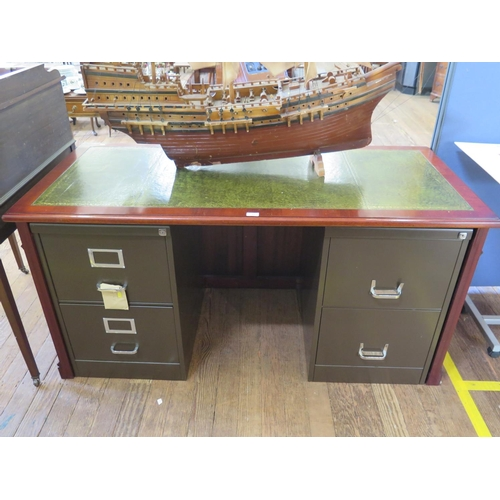 11 - A reproduction leather top desk, with a pair of metal two drawer filing cabinets as pedestals, 157 c...