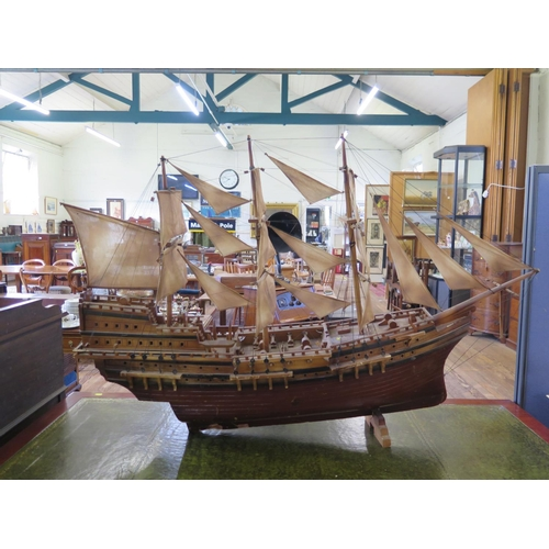 16 - A scale model of a galleon in full sail, 126 cm long...