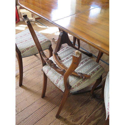 28 - A set of four Victorian balloon back dining chairs, with cabriole legs, another pair similar, and a ...