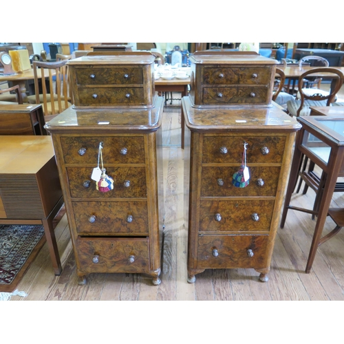 41 - A pair of mid Victorian burr walnut bedside cabinets, formerly from a dressing table, each with two ...