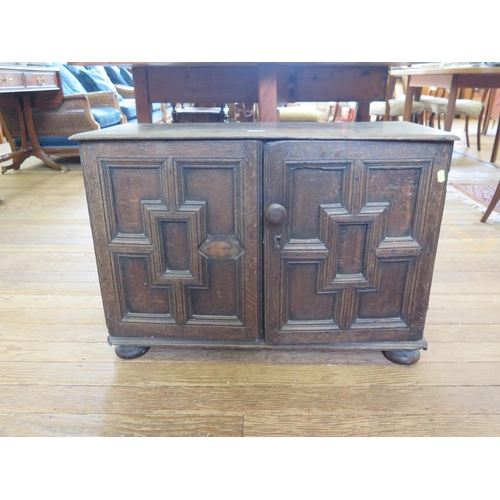 54 - A panelled oak cupboard, the hinged lid over a pair of panelled cupboard doors enclosing dummy drawe...