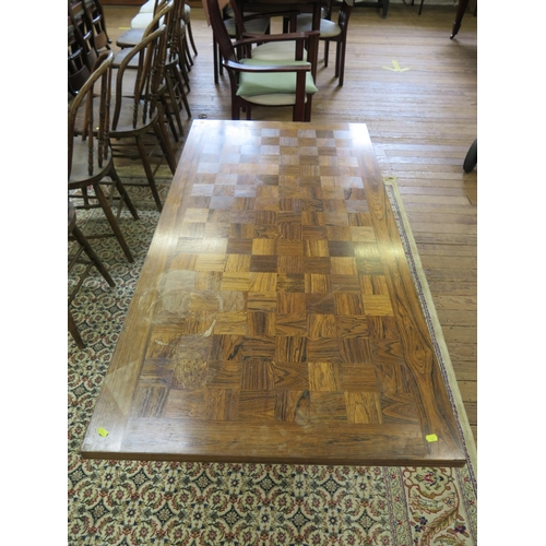 55 - **WITHDRAWN**A rosewood parquetry rectangular coffee table by France & Son, labelled, 160 x 80 cm, 5...