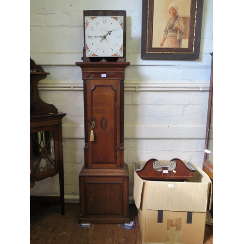 58 - An early 19th century oak and mahogany crossbanded longcase clock, the painted square dial inscribed...