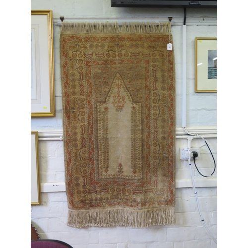 53 - A Persian style prayer rug, the sand field within a multiple border with repeat pattern, 155 x 88 cm