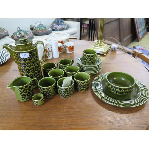 297 - A Green Hornsea Heirloom vintage 1970s coffee set consisting one coffee pot, six cups and saucers, t...