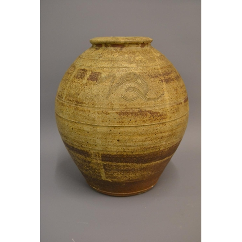 870 - Bernard Leech, St. Ives pottery baluster form stoneware vase with incised decoration, signed with im...