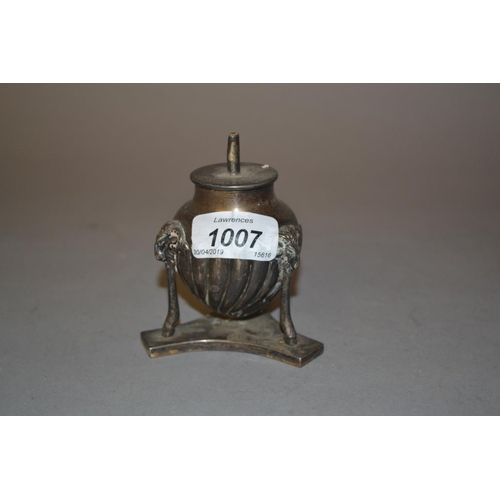 1007 - Late Victorian silver table lighter on three ram's head and hoof supports...