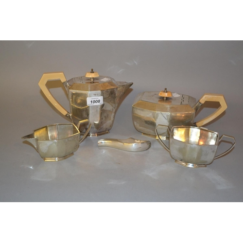 1008 - Art Deco four piece plated tea service (at fault), together with a plated sifter spoon, a commorativ...