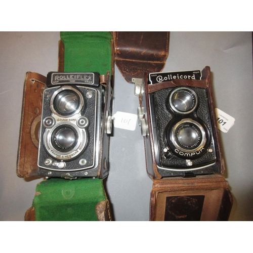 101 - Rolleicord twin lens camera with original leather case together with another similar...