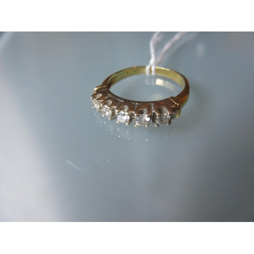 1013 - Yellow gold five stone diamond set ring...