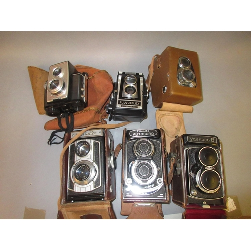 103 - Yashica B twin lens camera in original case, similar Welta camera, similar Ilford camera and three o...
