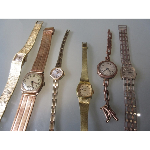 1039 - Ladies 9ct gold cased wristwatch (at fault) on a 9ct gold bracelet strap together with a gentleman's...