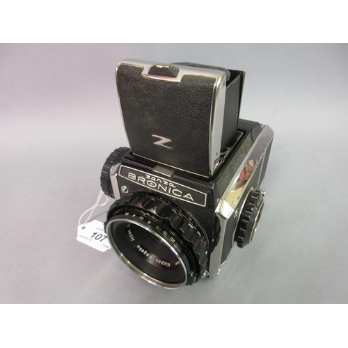 107 - Bronica Zenza medium format roll film camera with chrome plated case and original lens...