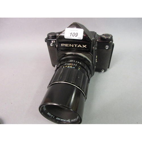 109 - Pentax 67 SLR camera with lens...