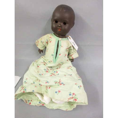 119 - Bisque headed doll with articulated injection moulded body (at fault)...