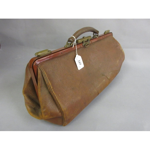 127 - Late 19th or early 20th Century leather Gladstone bag...